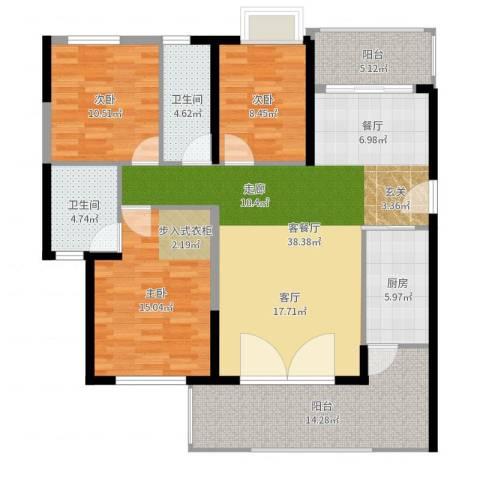 锦盛恒富得3室2厅2卫1厨134.00㎡户型图