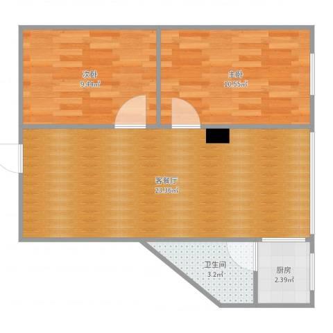 蝶翠新居2室2厅1卫1厨61.00㎡户型图