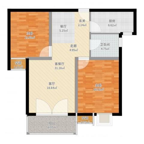 国际花都蓝蝶苑2室2厅1卫1厨99.00㎡户型图