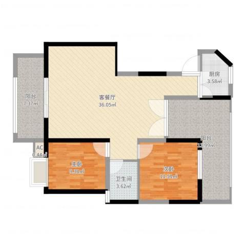 东方丽都2室2厅1卫1厨107.00㎡户型图