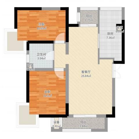 卫津领寓2室2厅1卫1厨81.00㎡户型图