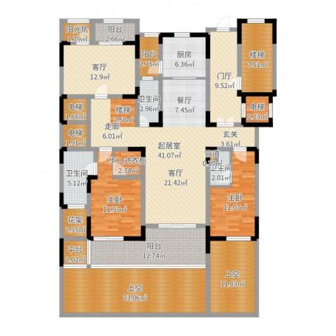 新城碧翠2室1厅3卫1厨223.00㎡户型图