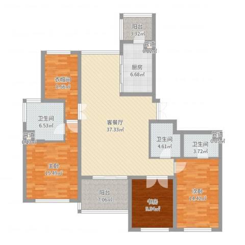 新城碧翠3室2厅3卫1厨147.00㎡户型图