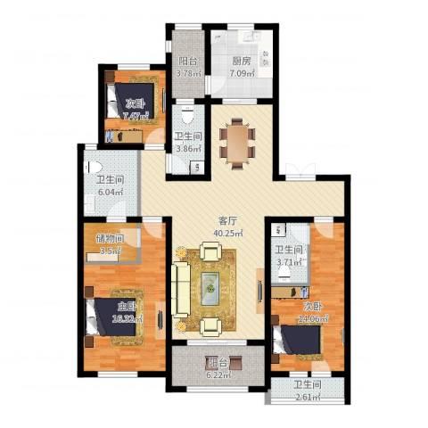 新城碧翠3室1厅4卫1厨144.00㎡户型图