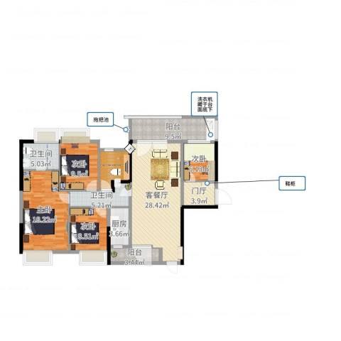 胜球阳光花园三期4室2厅2卫1厨133.00㎡户型图