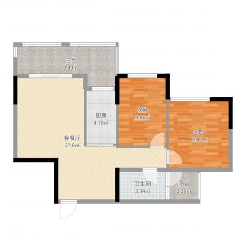 坤龙西城国阙2室2厅1卫1厨88.00㎡户型图