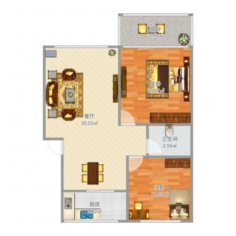辛甸花园2室1厅1卫1厨88.00㎡户型图