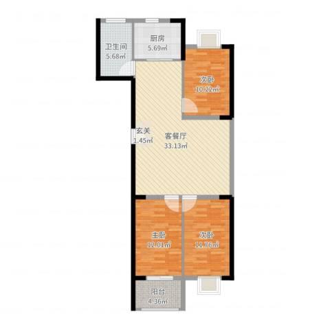 银枫家园3室2厅1卫1厨104.00㎡户型图