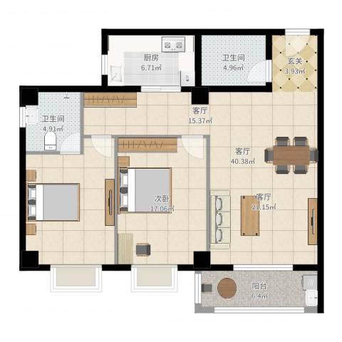 蒲公英国际广场1室1厅2卫1厨120.00㎡户型图