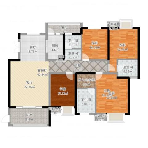 世纪城龙嘉苑4室2厅3卫1厨156.00㎡户型图