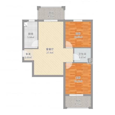 滏兴国际园二期2室2厅1卫1厨89.00㎡户型图