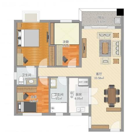 翠雍华庭2室1厅2卫1厨105.00㎡户型图