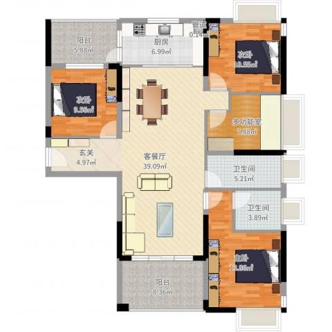 宁海尚峰3室2厅2卫1厨139.00㎡户型图