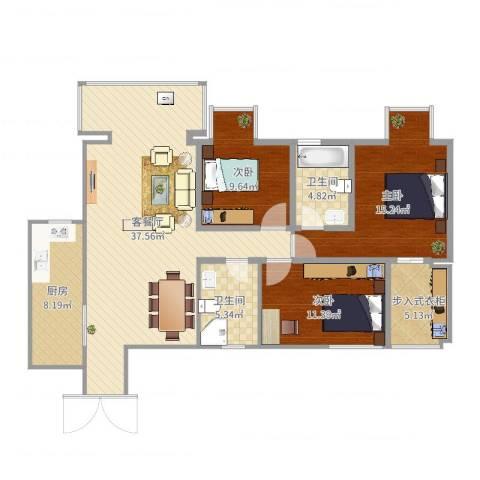 山水文苑3室2厅2卫1厨122.00㎡户型图