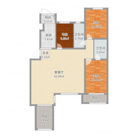 宏运・凤凰新城二期3室2厅2卫1厨170.00㎡户型图