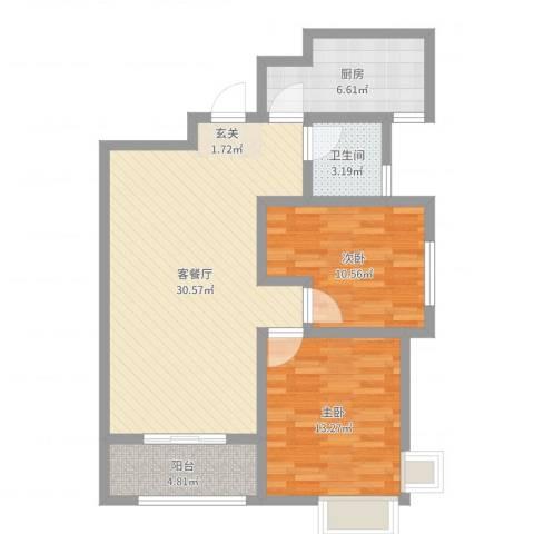 清华苑2室2厅1卫1厨86.00㎡户型图
