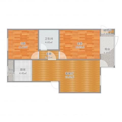 泰河苑三里2室2厅1卫1厨86.00㎡户型图