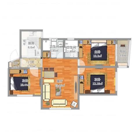 绿缘公寓3室1厅2卫1厨98.00㎡户型图