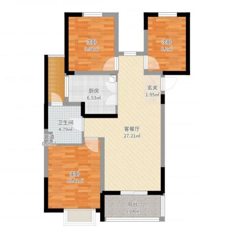 常熟新世纪花苑3室2厅1卫1厨98.00㎡户型图