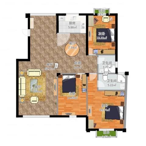 东辰阳光清华3室1厅2卫1厨153.00㎡户型图