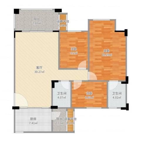 南沙碧桂园3室1厅2卫1厨118.00㎡户型图
