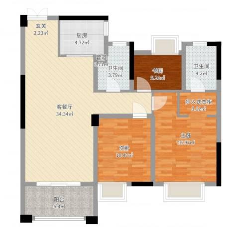 中央公馆3室2厅2卫1厨108.00㎡户型图
