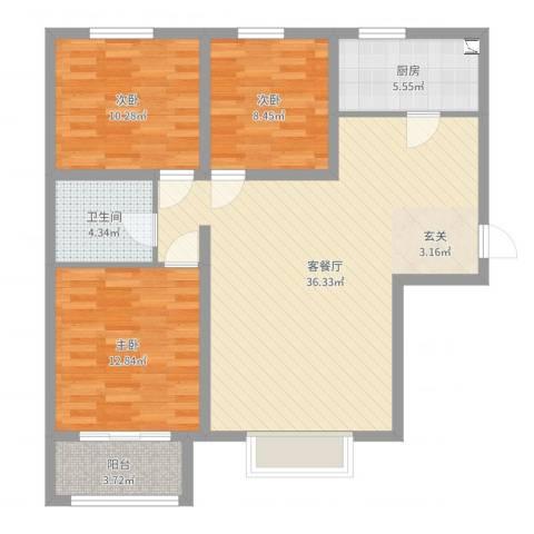 京润现代城3室2厅1卫1厨102.00㎡户型图