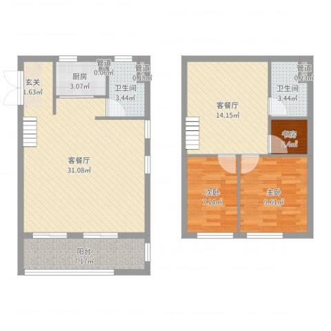 新梅御香山3室4厅2卫1厨102.00㎡户型图