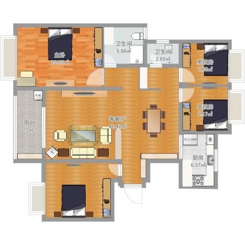 帝景观澜小区1室2厅2卫1厨150.00㎡户型图