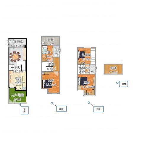 祈福新村A区4室1厅3卫1厨163.00㎡户型图