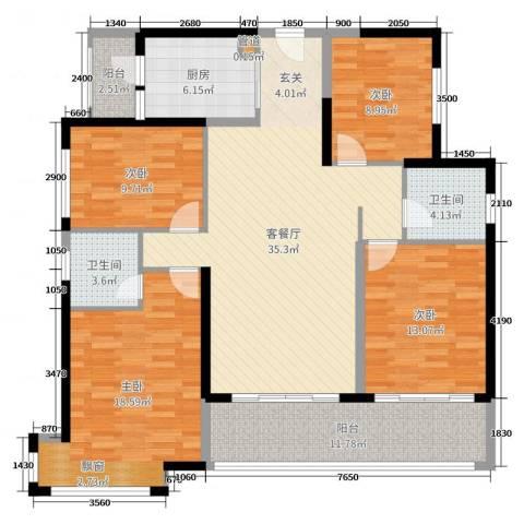 君怡花园4室2厅2卫1厨146.00㎡户型图