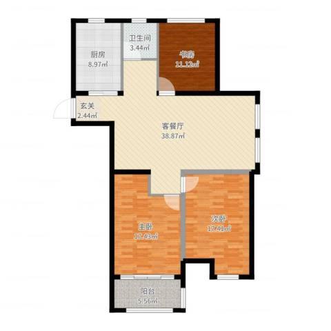 燕铭华庄3室2厅1卫1厨128.00㎡户型图