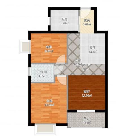颐和盛世2室2厅1卫1厨84.00㎡户型图