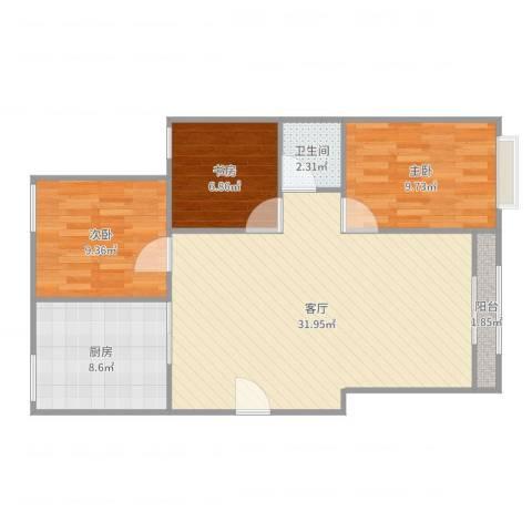 园丁小区3室1厅1卫1厨88.00㎡户型图