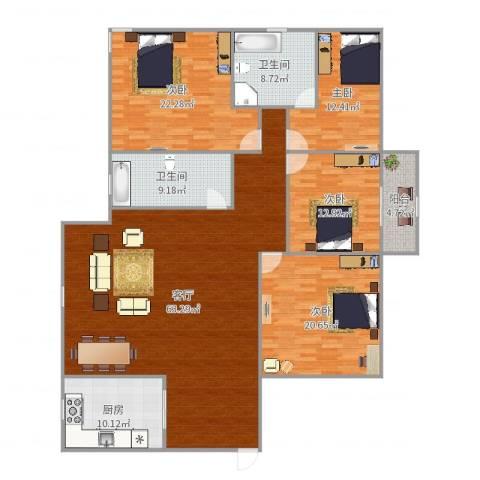 中兴花园4室1厅2卫1厨205.00㎡户型图