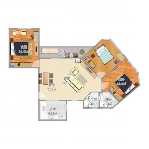百合花苑2室1厅2卫1厨109.00㎡户型图