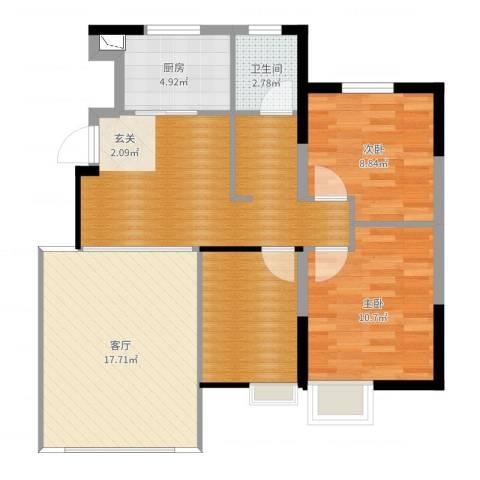 保利诺丁山天津2室1厅1卫1厨87.00㎡户型图