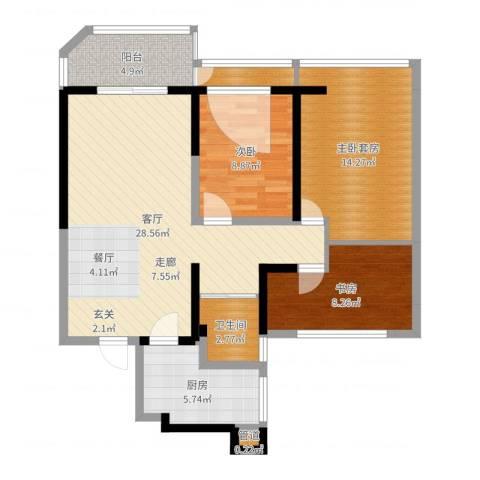 金地湖城艺境2室1厅1卫1厨94.00㎡户型图