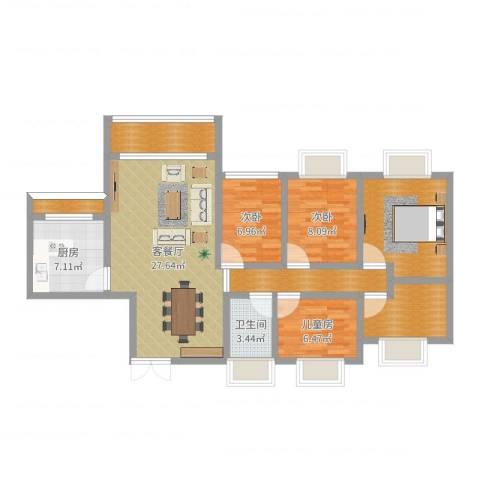 碧阳国际城3室2厅1卫1厨109.00㎡户型图