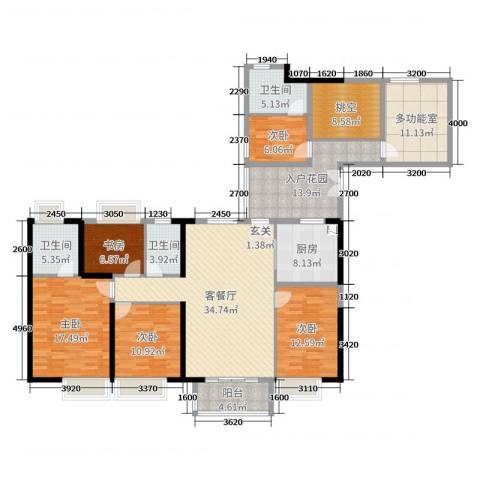 元邦明月水岸5室2厅3卫1厨184.00㎡户型图