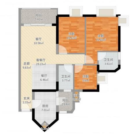 金碧领秀国际3室2厅2卫1厨102.00㎡户型图