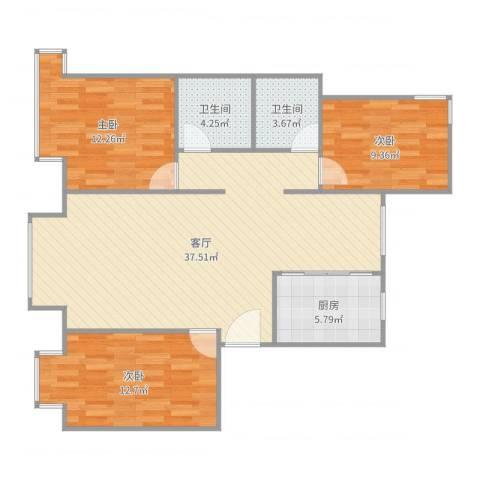 东湖湾C3-西单元3室1厅2卫1厨107.00㎡户型图