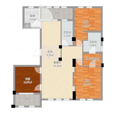 维科太子湾3室2厅2卫1厨146.00㎡户型图