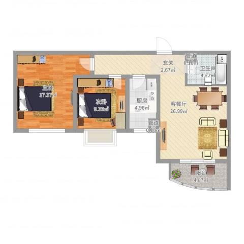 绿地世纪城・塞纳印象2室2厅1卫1厨85.00㎡户型图