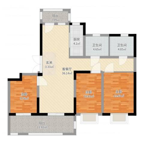 海门翠湖天地3室2厅2卫1厨122.00㎡户型图