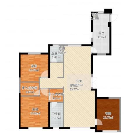 中庚当代艺术3室2厅2卫1厨162.00㎡户型图