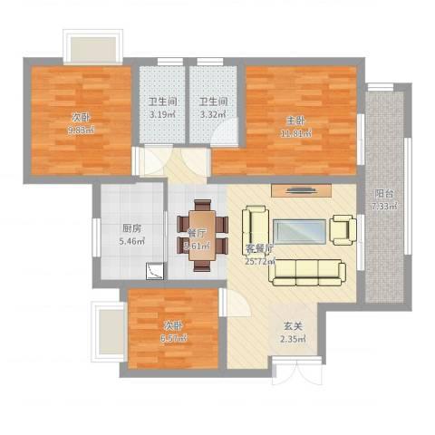 瑞府3室2厅2卫1厨92.00㎡户型图