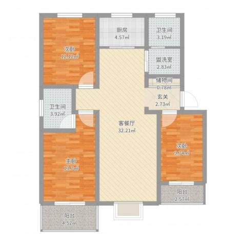 旭丰惬意空间3室2厅2卫1厨113.00㎡户型图