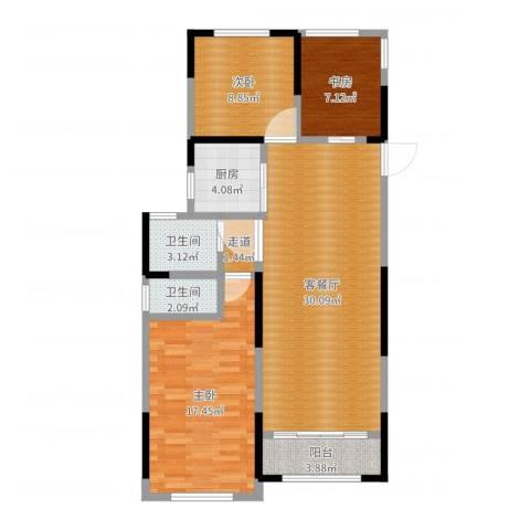 雅戈尔新东城3室2厅2卫1厨98.00㎡户型图