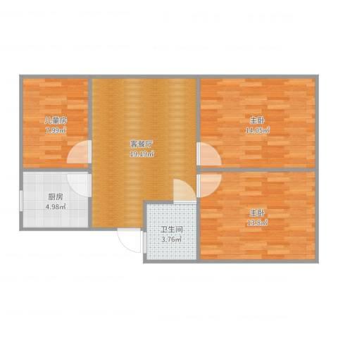 里厍新村(一村至二村)3室2厅1卫1厨80.00㎡户型图